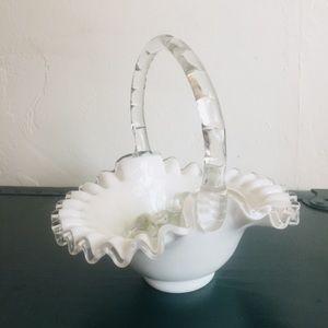 Vintage Fenton silver crest milk glass Basket